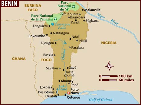 Map of Benin from Lonely Planet